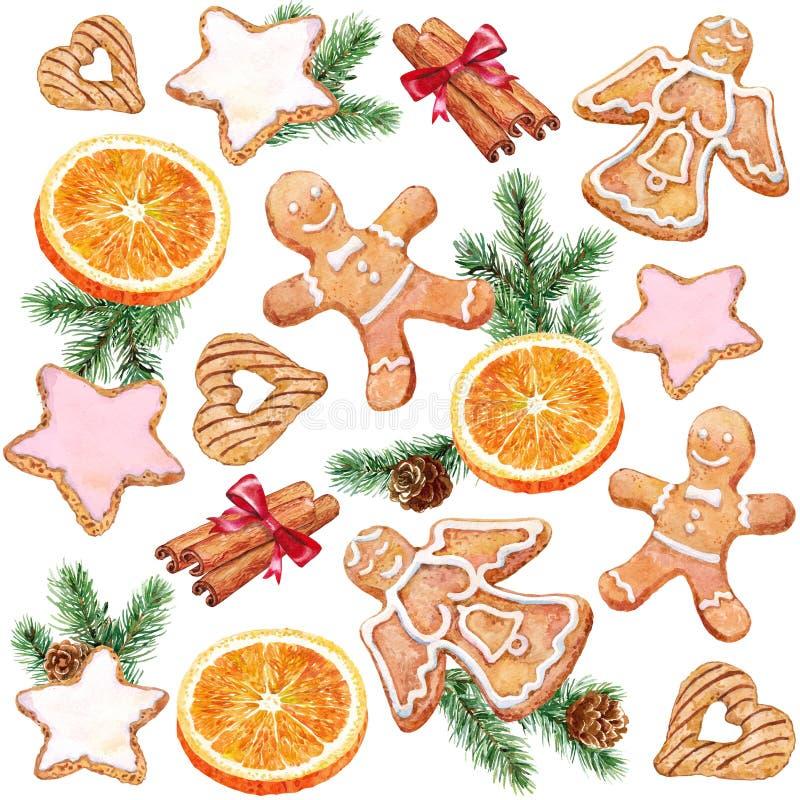 Deleite do Natal Pão-de-espécie, laranjas e canela watercolor ilustração stock