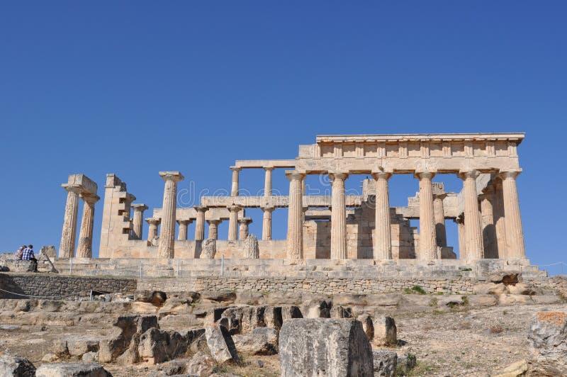 Grekiskt forntida tempel - Aphaia - Aegina arkivbild