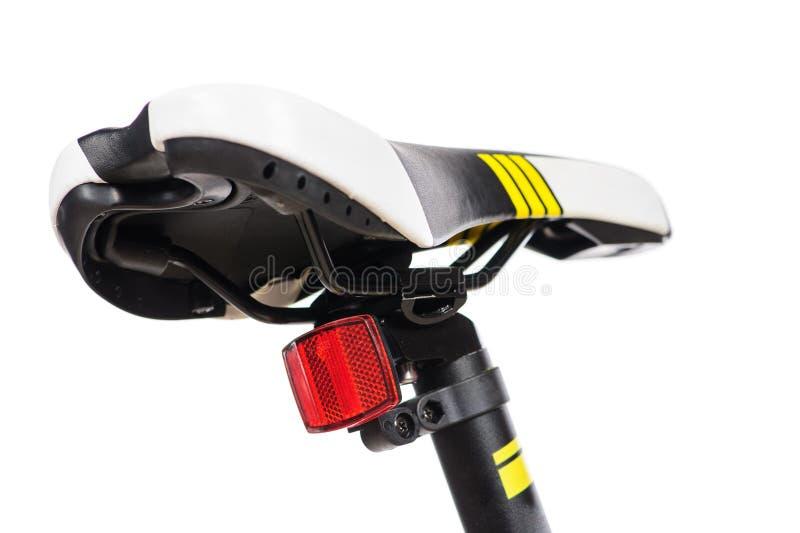 Delen van gele fiets op een studio witte achtergrond Sluit omhoog details stock foto