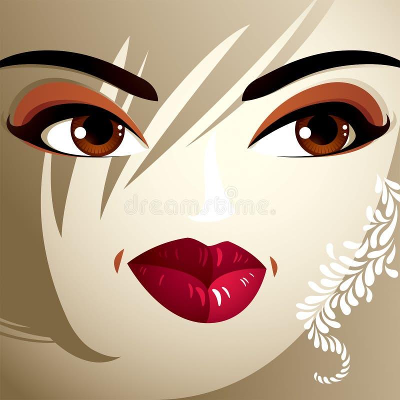 Delen van het gezicht van een jonge mooie dame met helder merk-u royalty-vrije illustratie