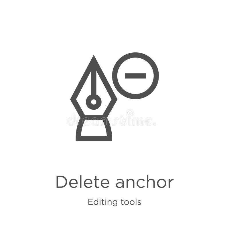 delete anchor icon vector from editing tools collection. Thin line delete anchor outline icon vector illustration. Outline, thin vector illustration