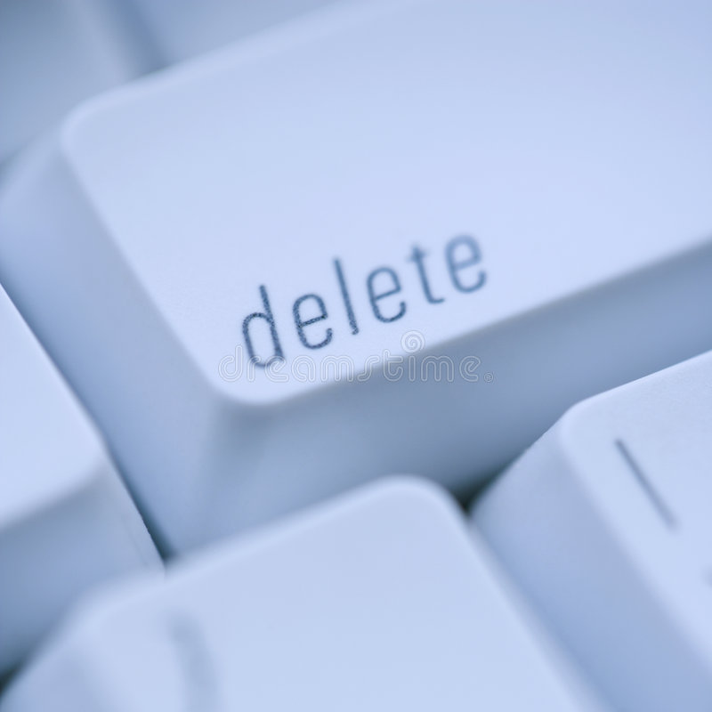 Delete computer key. Close up of delete key on computer keyboard stock image