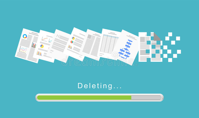 Delete files or delete documents process royalty free illustration