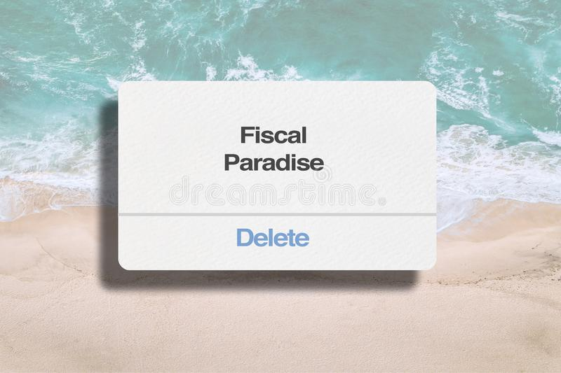 Delete Fiscal Paradise. Concept and Beach Background vector illustration
