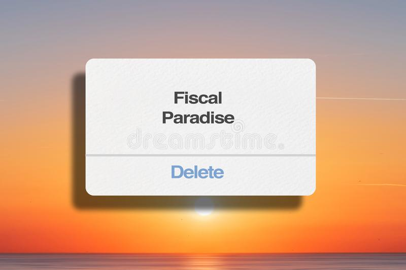 Delete Fiscal Paradise Concept. And Sunset Background royalty free stock image