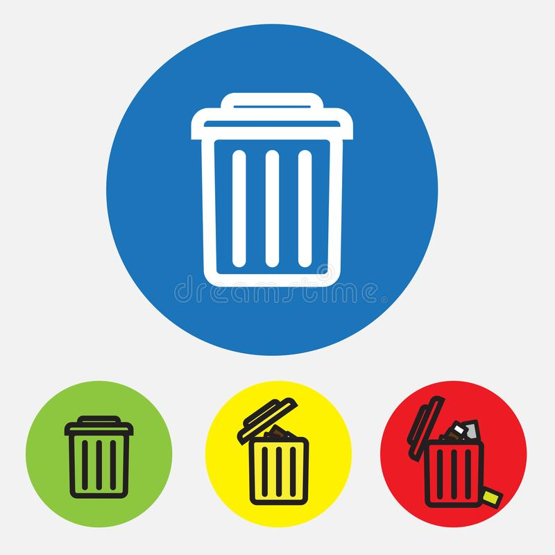 Delete flat  icons, Trash can vector icon illustration on white background royalty free illustration