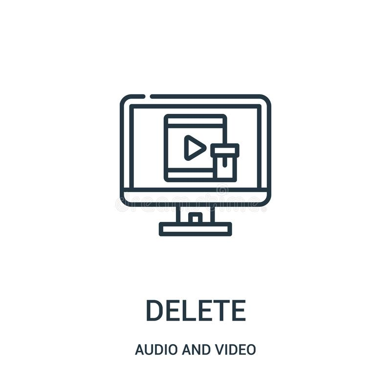 delete icon vector from audio and video collection. Thin line delete outline icon vector illustration vector illustration