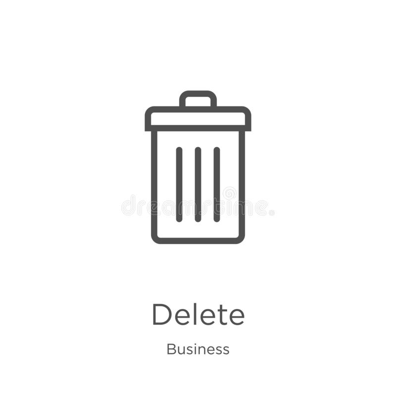 delete icon vector from business collection. Thin line delete outline icon vector illustration. Outline, thin line delete icon for vector illustration