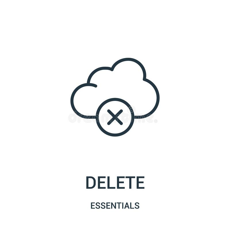 delete icon vector from essentials collection. Thin line delete outline icon vector illustration. Linear symbol for use on web and royalty free illustration