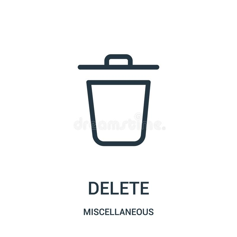 delete icon vector from miscellaneous collection. Thin line delete outline icon vector illustration. Linear symbol for use on web vector illustration