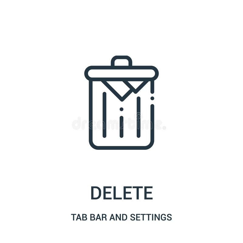 delete icon vector from tab bar and settings collection. Thin line delete outline icon vector illustration royalty free illustration