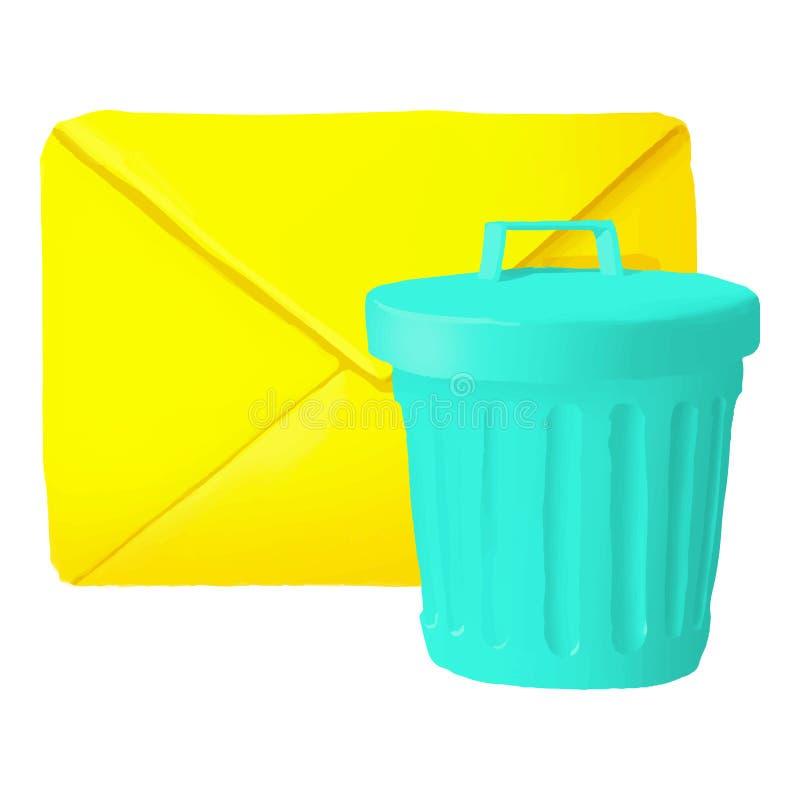 Delete message icon, cartoon style. Delete message icon in cartoon style isolated on white background. Communication symbol illustration royalty free stock images