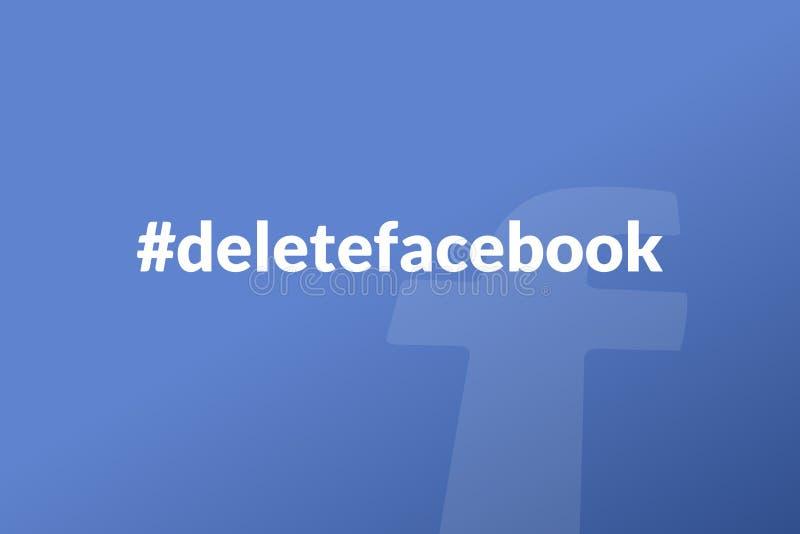 Deletefacebook é um hashtag novo após o escape dos dados de Facebook ilustração royalty free