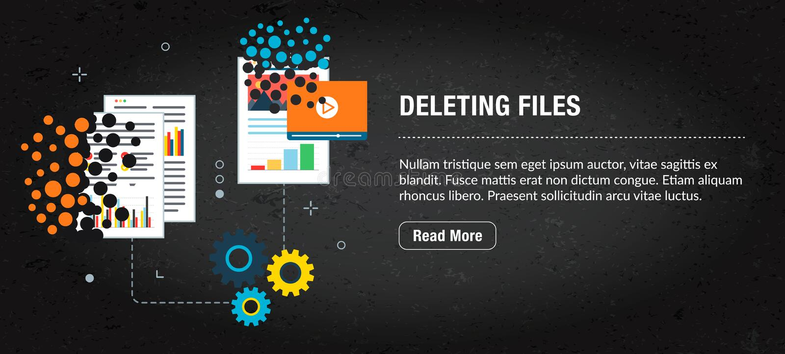 Deleting files, banner internet with icons in vector royalty free illustration