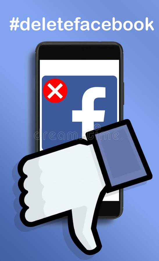 Deleting permanently Facebook account. Warsaw,Poland- March 2018: illustrative concept, user deleting Facebook acount due to Cambridge Analytica data leaks
