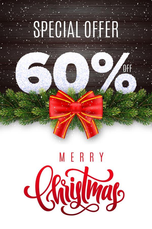 Deletreado de la Feliz Navidad Venta del día de fiesta el 60 por ciento apagado Números de nieve en el fondo de madera con la gui ilustración del vector