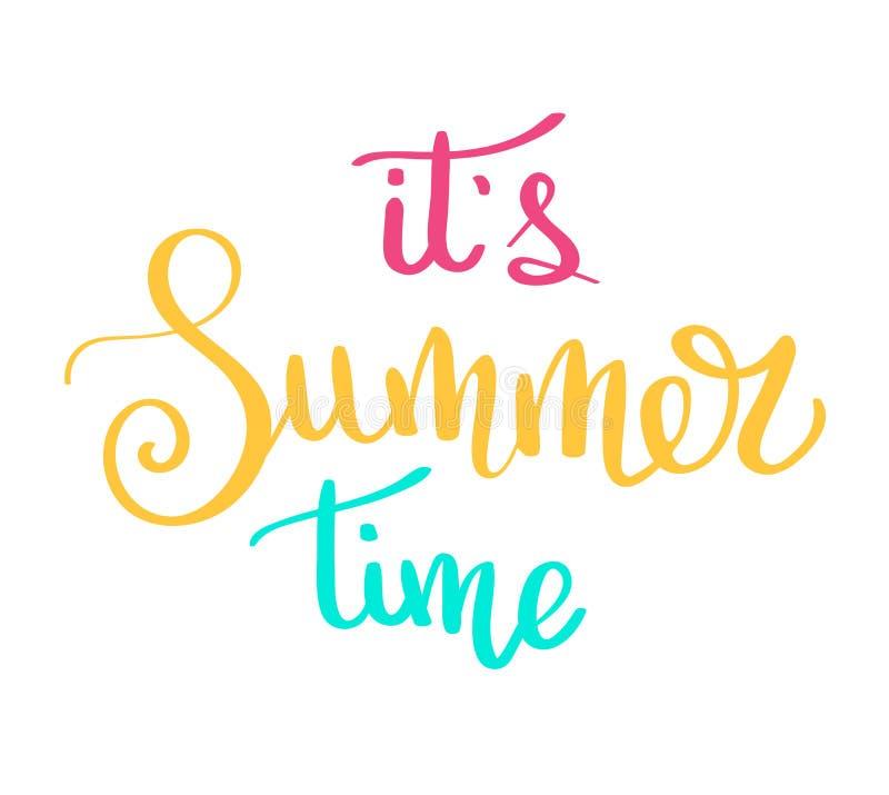 Deletreado multicolor dibujado mano del cepillo del deletreado del verano Tipografía del verano - hola verano Inscripción manuscr stock de ilustración
