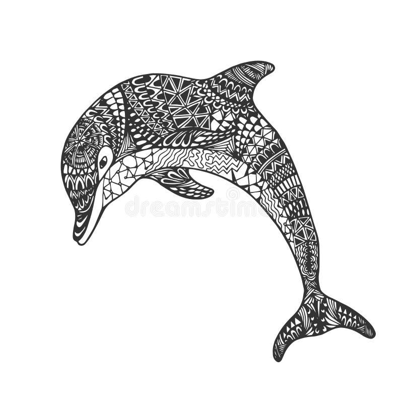 Delfín adornado abstracto monocromático dibujado mano aislado del salto del esquema negro en el fondo blanco Ornamento de las lín ilustración del vector