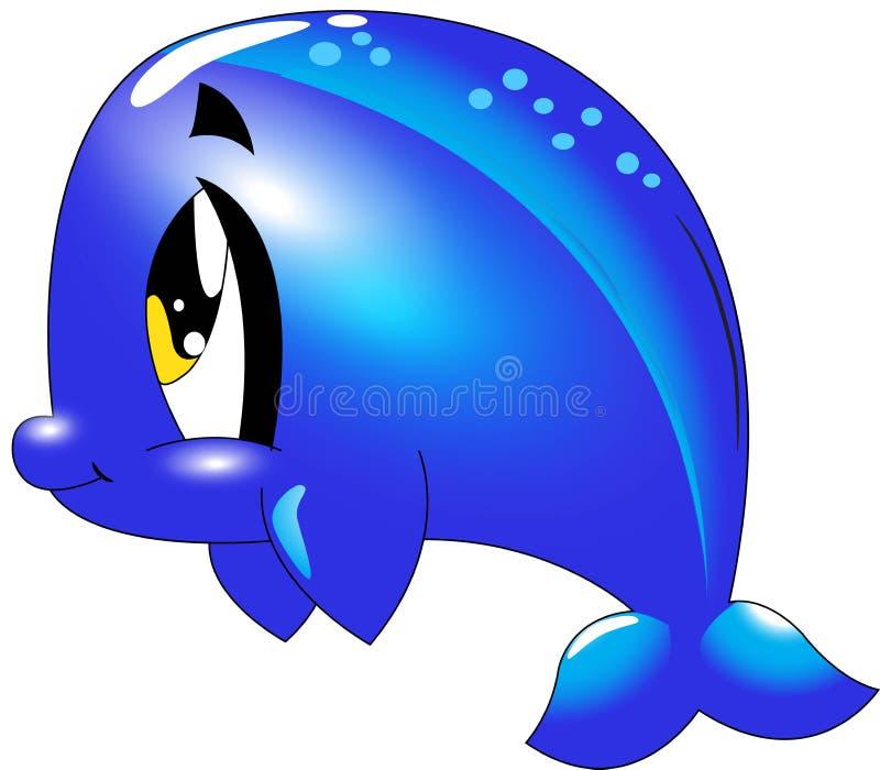 Delfín - colección linda de la historieta de la vida marina bajo caracteres animales del agua stock de ilustración