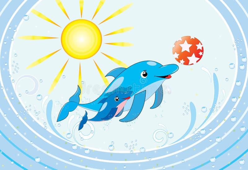 Delfín de la madre y su bebé ilustración del vector