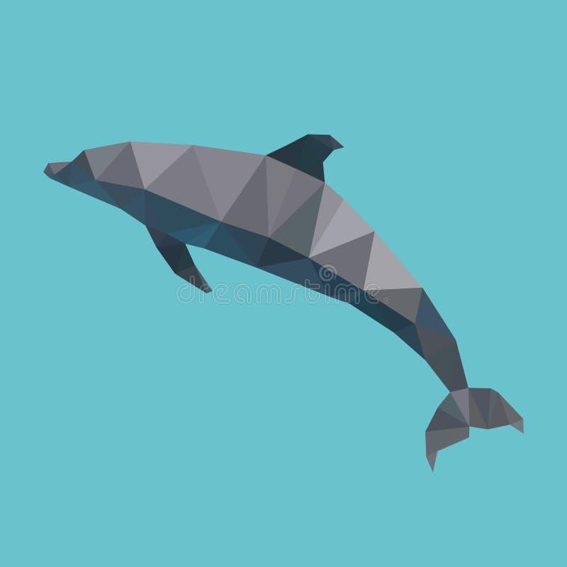 Delfín poligonal, animal de mar geométrico del polígono, vector libre illustration