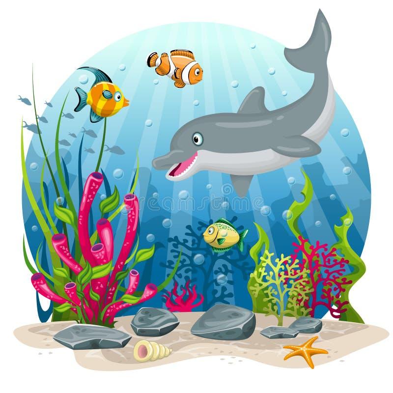 Delfín y pescados en el mar libre illustration