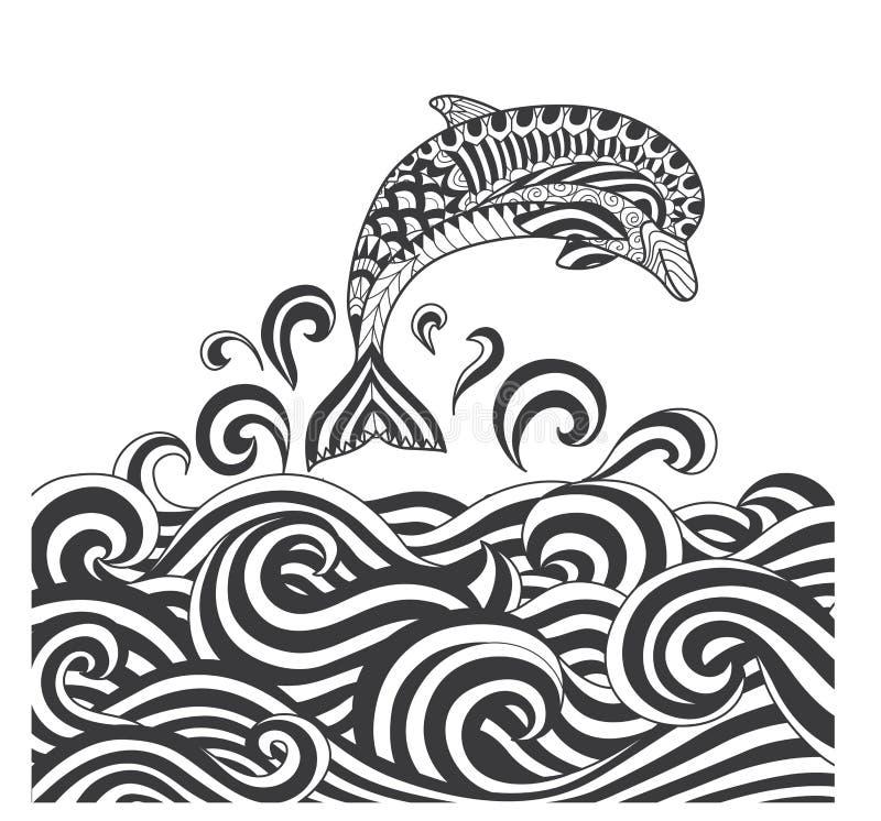 Delfínes Del Zentangle Del Vector En La Onda Del Mar Del Movimiento ...