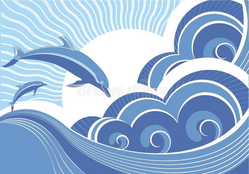 Delfínes en onda azul del mar. stock de ilustración