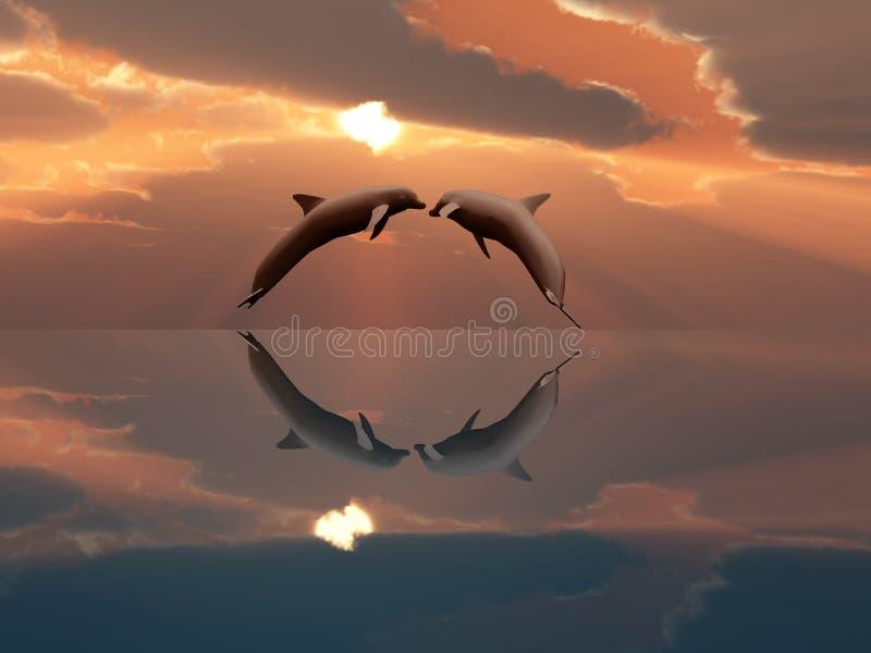 Delfínes que juegan en la puesta del sol stock de ilustración