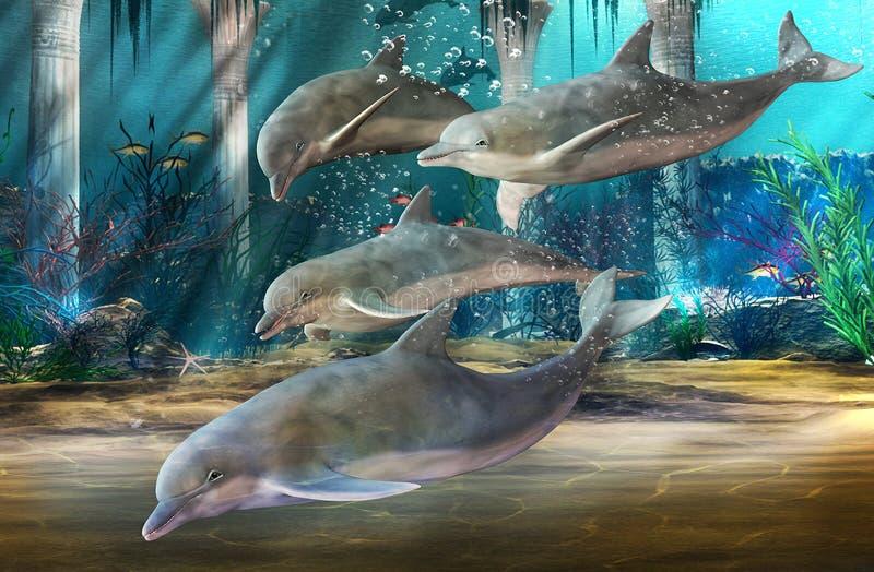 Delfínes que nadan libre illustration