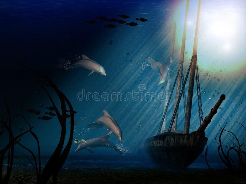 Delfínes y un barco ilustración del vector