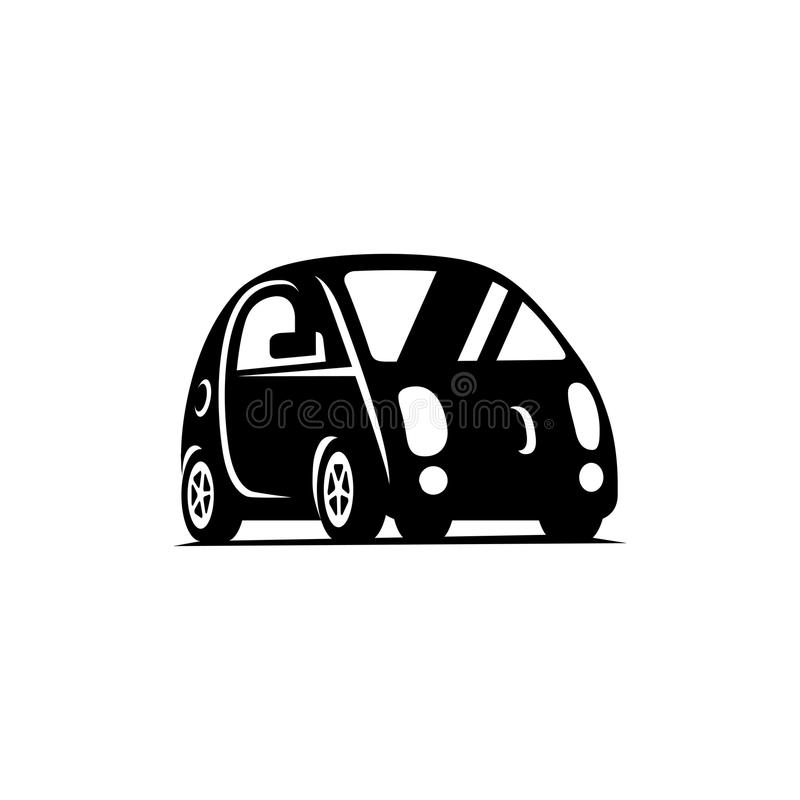 Delf-Fahren des driverless Fahrzeugs Flache Ikone der Seitenansicht des Autos lizenzfreie abbildung