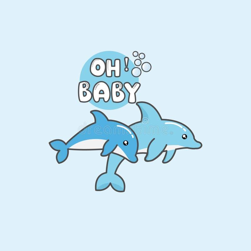 Delf?n de la historieta y ejemplo lindos del vector del beb? ilustración del vector