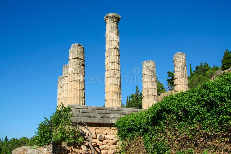 Delfi, Grecia: Colonnato del tempio di Apollo con Delphi Oracle, centro di cultura greca immagini stock libere da diritti