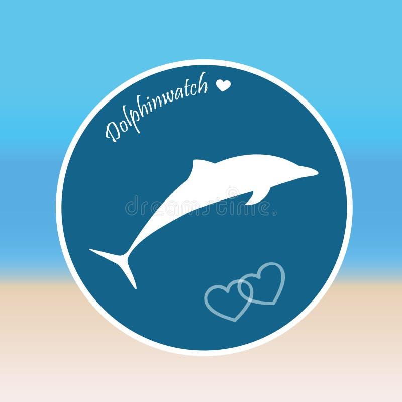 Delfinów skoków dolphinwatch plaży tło ilustracja wektor