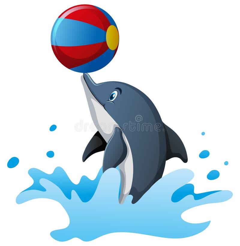 Delfin bawić się piłkę w wodzie ilustracji