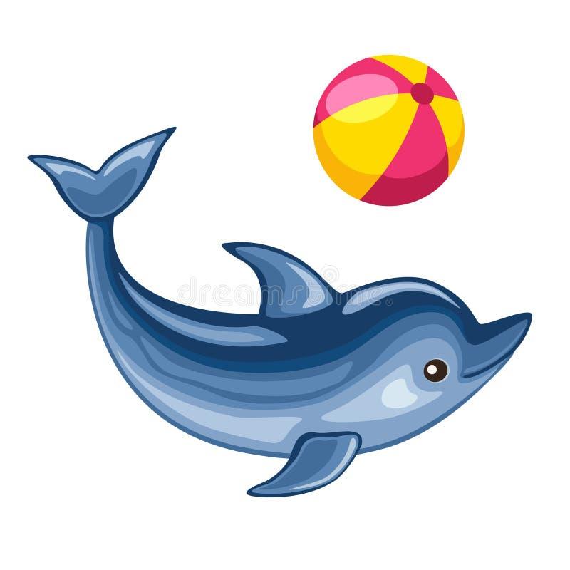 Delfin bawić się z plażową piłką ilustracji