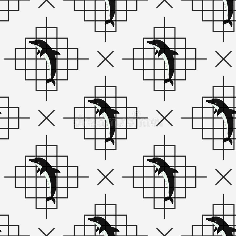Delfin bezszwowy i linie na białym tle również zwrócić corel ilustracji wektora ilustracja wektor