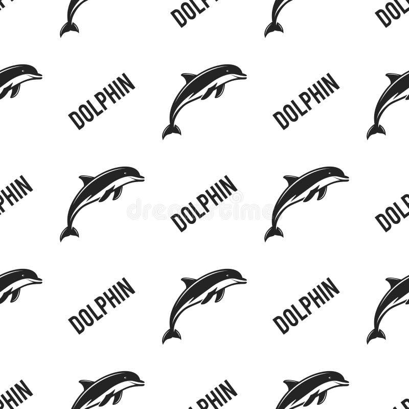 Delfin bezszwowy z typografia znakiem Dzikie zwierzę tapeta Akcyjny wzór odizolowywający na białym tle retro ilustracji