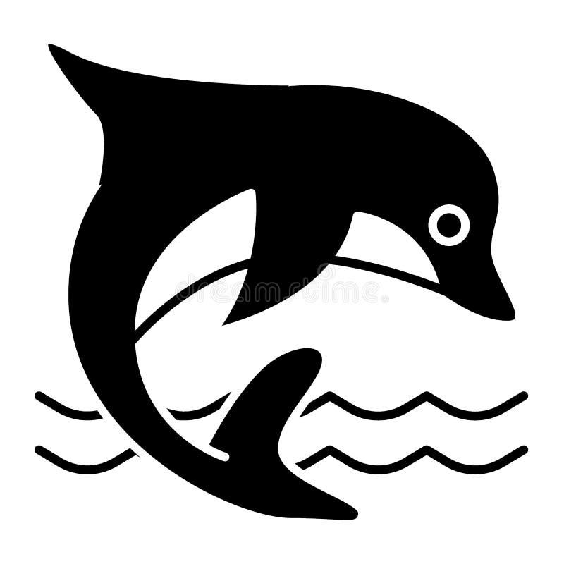 Delfin bryły ikona Nadwodnego ssaka wektorowa ilustracja odizolowywająca na bielu Delfinu doskakiwanie w dennym glifu stylu proje royalty ilustracja