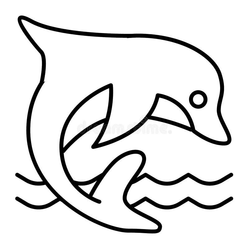 Delfin cienka kreskowa ikona Nadwodnego ssaka wektorowa ilustracja odizolowywająca na bielu Delfinu doskakiwanie w dennym konturu royalty ilustracja