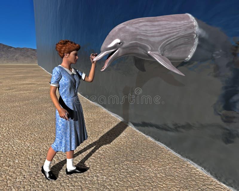 Delfin flicka, möte, naturillustration stock illustrationer