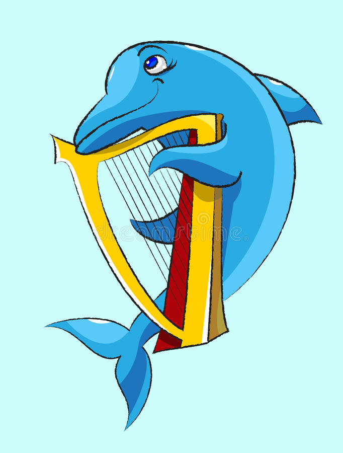Delfin - harpist ilustracji