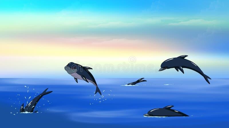 Delfin i ett hav royaltyfri illustrationer