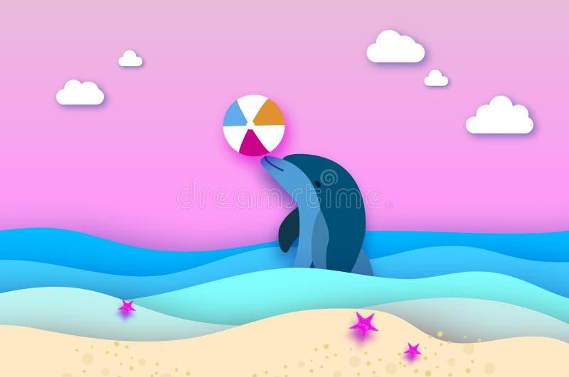 Delfin i plażowa piłka w morzu w papieru cięciu projektujemy Origami ablegrował pięknego seascape i niebo Hawaje Pacyficzny ocean royalty ilustracja