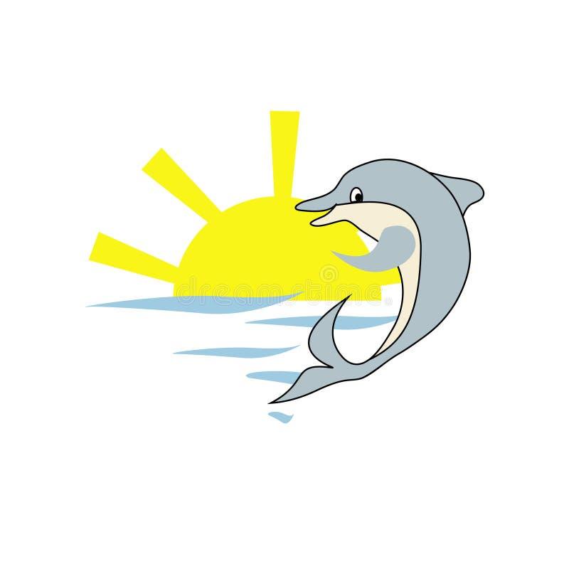 Delfin i słońce ilustracja wektor