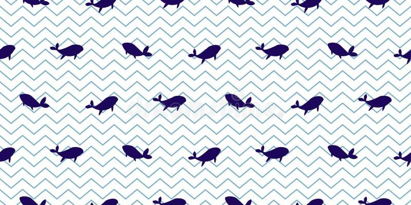 Delfin i wielorybi bezszwowy wektoru wzór Kreskówki stylowy błękit paskujący rybi prosty tło ilustracja wektor