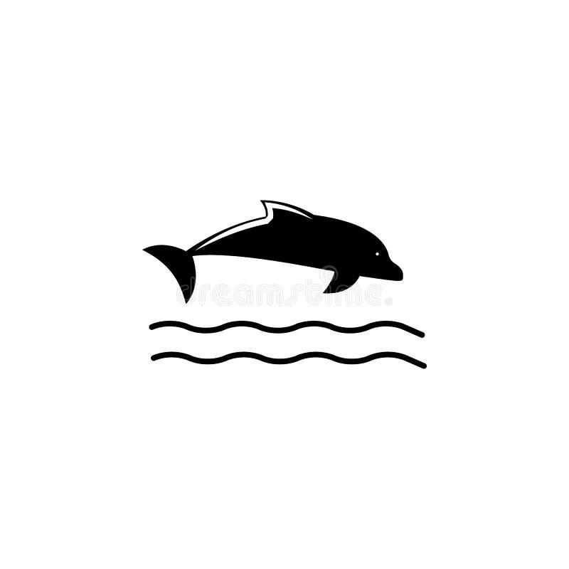 Delfin ikona Element plażowa wakacje ikona dla mobilnych pojęcia i sieci apps Odosobniona delfin ikona może używać dla sieci i wi ilustracja wektor