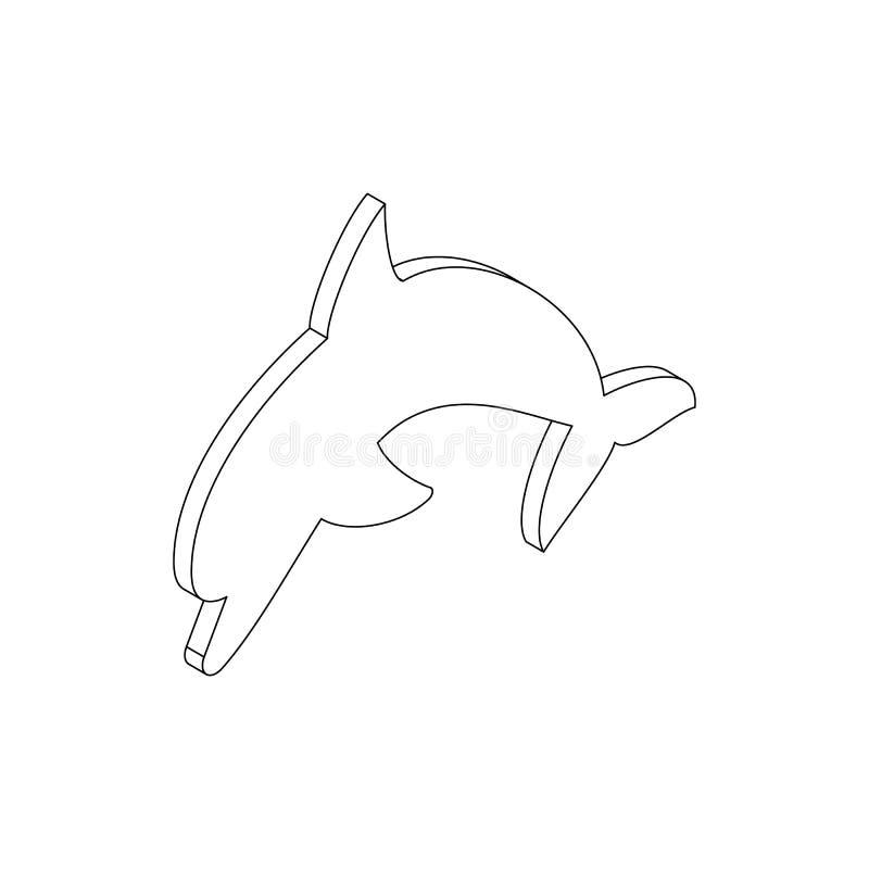 Delfin ikona, isometric 3d styl ilustracji