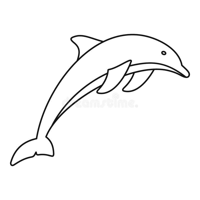 Delfin ikona, konturu styl ilustracja wektor